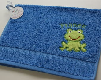 Personalized towel for kid, Towel with Frog applique and name, Small hand towel