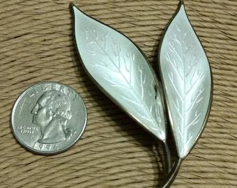 Vintage Designer Signed Norway Artist David Anderson White Enamel Dual Leaf Sterling Silver Brooch Pin