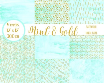 Watercolor Scrapbook Paper, Mint and Gold, Digital Paper, Digital Wallpaper, Wedding, Mint Scrapbook Paper