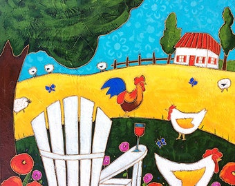 Original acrylic painting on canvas, country, hen, rooster, adirondack chair,  home decor by artist Isabelle Malo