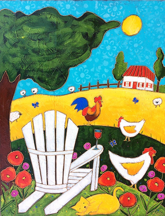 Original acrylic painting on canvas country hen rooster for Peinture mural original