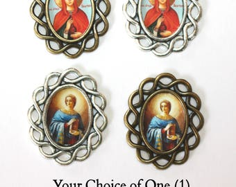 One (1) St. Anastasia Rosary Center/Rosary Making/Custom Rosary Part/Your choice of Image and Metal (Bronze or Antique Silver)