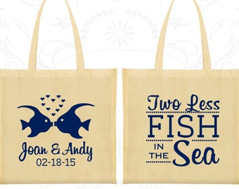 Canvas Bags, Two Fishes, Personalized Wedding Bags, Wedding Favors, Personalized Bags, Custom Tote Bags, Cotton Bags (C533)