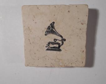 "Decorative  Magnet on Ceramic Tile 2 "" X 2""  Gramophone"