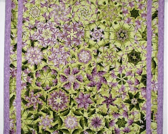 "Spring Quilted Throw, Kaleidoscope Quilt, Floral Lap Quilt, One Block Wonder, Lavender and Green Quilt, 40""x50"", Quiltsy Handmade"