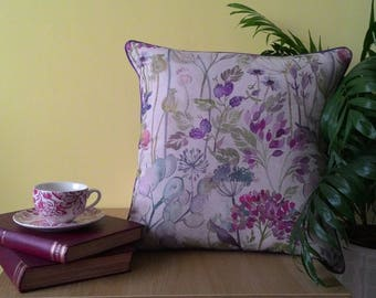 Handmade piped Voyage Hedgerow (Linen) Cushion Medium size