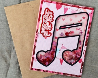 Valentine's Day Card Shaker You Make my Heart Sing