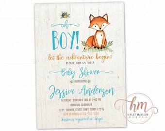 Fox Baby Shower Invitation, Rustic style woodland invitation, Fox Boy Invitation, baby sprinkle, Blue fox baby shower, PRINTABLE FILE
