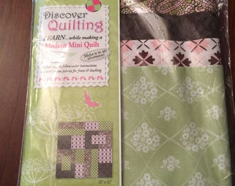 "Kit for 30x30"" Pink, Green & Brown Quilt"