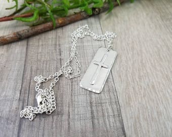 Sterling Silver Cross Pendant Necklace / Cross Necklace / Faith Necklace / Dog Tag