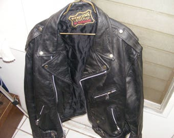 genuine leather motorcycle jacket by manzoor size lg