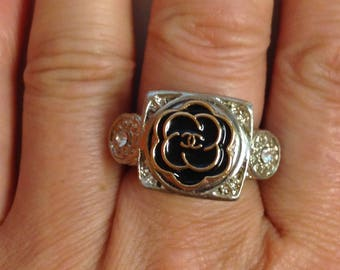 Ring with repurposed authentic designer button ,handmade,size 7