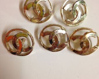 Vintage 5 buttons Chanel , used , light gold , 22 mm