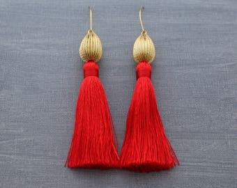 Silk Tassel Earrings - Red Tassel Earrings - Tassle Earrings - Long Tassel Earrings - Red and Gold Earrings - Statement Earrings - Bohemian