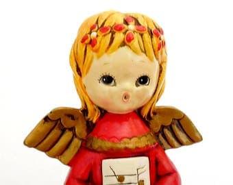 Vintage Angel Music Box, Paper Mache Angel, Rotating Angel Caroler, Retro Holiday Decor, Christmas Angel, Red Angel Figurine