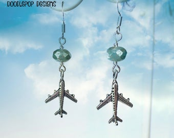Aeroplane Earrings - Aeroplane charm earrings - Gift for air hostess - Aeroplane jewellery - Travel jewellery - Cute earrings - UK gift