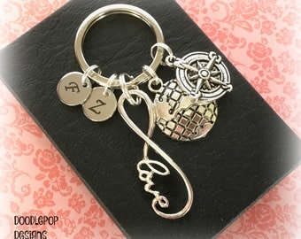 Personalised infinity keychain - Long distance relationship - Valentine gift for her - Travel keyring - Infinity keyring - Girlfriend gift