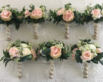 x1 Artificial Bridesmaids bouquet rustic style with soft pink peonies roses hydrangeas gypsophila greenery other matching items available