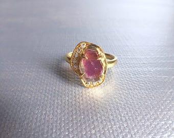 tourmaline slice ring, watermelon tourmaline, tourmaline ring, ooak crystal ring, gift for her, gift for mom, gemstone ring, bespoke ring