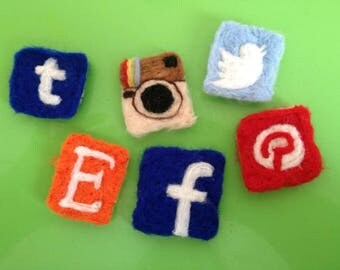 Wool Social Media Badges Needle Felted Twitter Tumblr Pinterest Facebook Etsy Instagram Handmade Photo Props Cute Different Craft Supplies