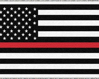 American Flag Thin Red Line Flag Woven Throw - Tapestry SKU: TRLTHROW2