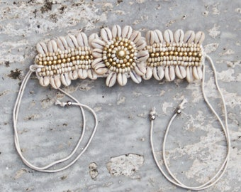 Shell Cuff - handmade boho bracelet - Gypsy Bracelet - Shell Bracelet - Cowrie Shells and crochet handcrafted cuff