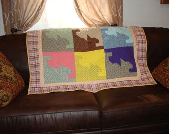 Scrappy Cats - Handmade/Hand Quilted - Lap Quilt/Wall Hanging/Baby Quilt