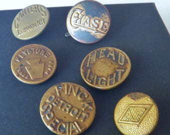 6 Mens Work Clothes Buttons with Captions Slogans From 1900-1935 Americana