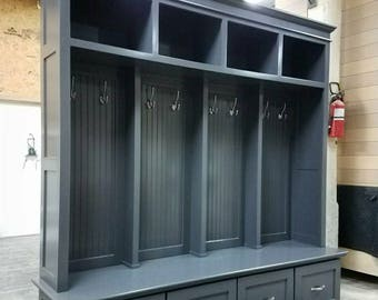 The YORKTOWN Mudroom Bench Cubbies Storage Halltree Lockers