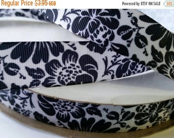 "ON SALE 5 yards -floral fantasy black s with 7/8"" grosgrain ribbon print"