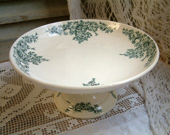 Antique french forest green transferware large pedestal cake stand. Compote dish Dark green transferware. Jeanne d'Arc living. French nordic
