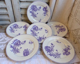 Set of 6 Antique french lavender transferware dinner plates. Violet. Purple Lavender french transferware. Jeanne d'Arc living. French Nordic
