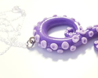 Purple octopus tentacle necklace