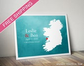 Custom Ireland Print with Watercolor Background - Wedding Guest Book, Wedding Gift, Engagement Gift, Anniversary Gift