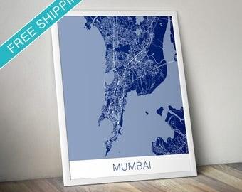 Mumbai Map Art Print