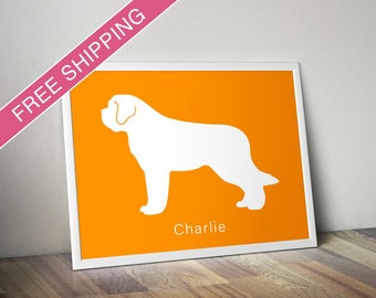 Personalized Saint Bernard Silhouette Print with Custom Name - St Bernard dog poster, dog gift, dog home decor