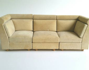 Vintage Modern Dollhouse Sectional Sofa, Doll House Furniture, Mid Century Modern Style Miniature Couch