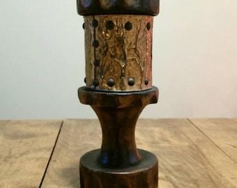 Vintage 1970s, 80s Wooden Candle Holder, Carved Wood and Copper, Boho Tavern Candleholder