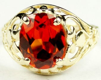 Created Padparadsha Sapphire, 18KY Gold Ring, R004