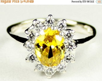 On Sale, 30% Off, Golden Yellow CZ, 925 Sterling Silver Ring, SR235