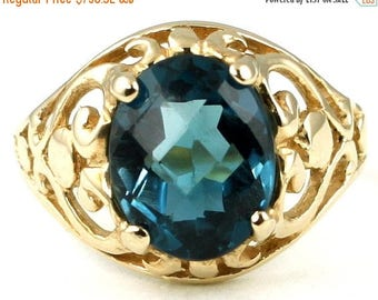 On Sale, 30% Off, London Blue Topaz, 18KY Gold Ring, R004