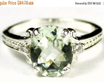 On Sale, 30% Off, Green Amethyst, 925 Sterling Silver Ring, SR136
