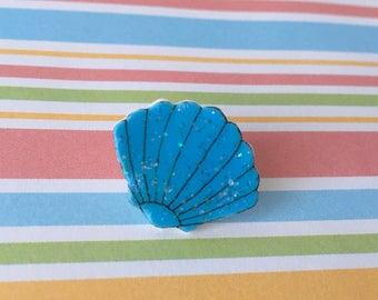 Handmade Blue Shell Pin Badge