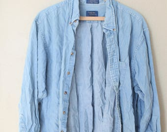 vintage distressed 1990's oversized blue chambray denim industrial work shirt