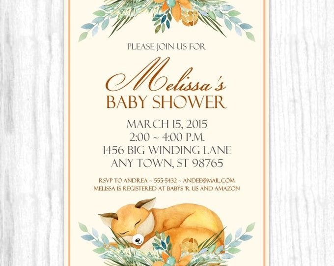 Baby Shower Invitation, Watercolor Fox Baby Shower Invite, DIY Invitations, Customized for you - 4x6 or 5x7 size - YOU print
