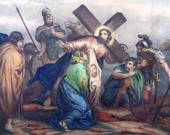Religious lithograph print , Way of the Cross , Station 6 Veronica