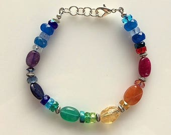 Gemstone Chakra Bracelet - Yoga Jewelry - Spiritual Jewelry - Gemstone and Crystal Rainbow Bracelet