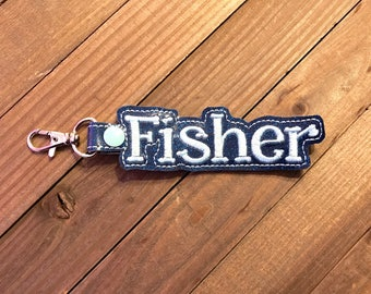 Personalized Name Tag, Personalized Name Keychain, Personalized Name Zipper Pull ---70 Colors --- Fisher Outline Font