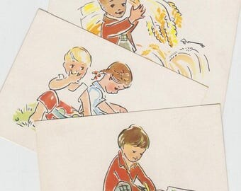 SUMMER SALE -30%off Blank vintage postcard set of 3 from 60s  - artist K. Dale - Postcards from Soviet times- Kids postcards