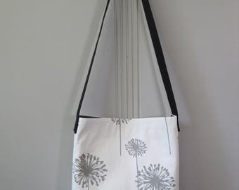 Dandelion Shoulder Bag, Cross Body Bag, Market Bag, Screen Printed Shoulder Bag, Book Bag, Cotton Shoulder Bag